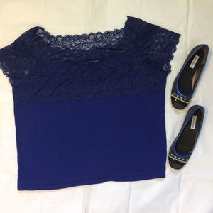 Royal blue lace short sleeve shirt 4x